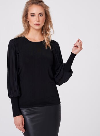 Pleated Chiffon Sleeve Knit Top, , hi-res