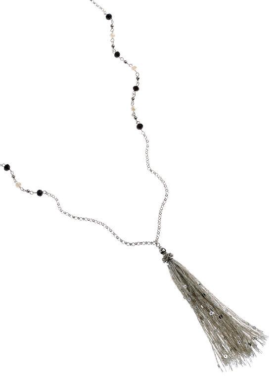 Sequined Tassel Pendant Necklace, Silver, hi-res