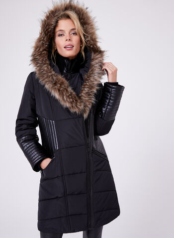 Northside - Hooded Faux Leather Trim Coat, Black, hi-res