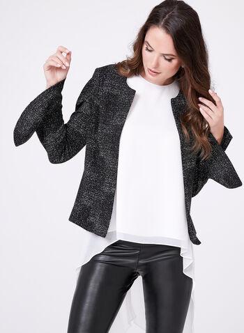 Lurex Weave Cropped Blazer , , hi-res