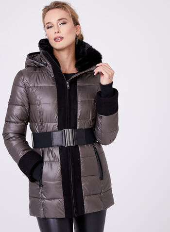 Novelti - Quilted Faux Down Coat, , hi-res
