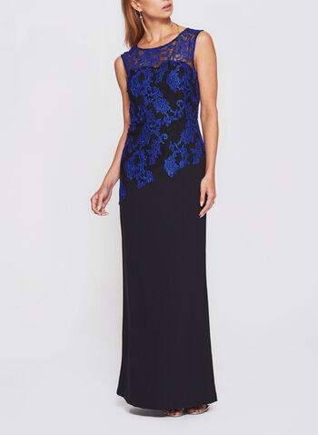 Lace Bodice Crepe Dress, , hi-res
