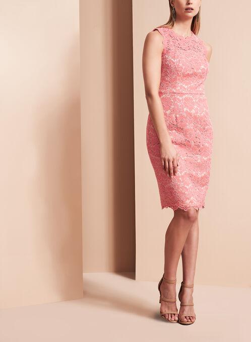 Vince Camuto Contrast Lace Dress, Orange, hi-res