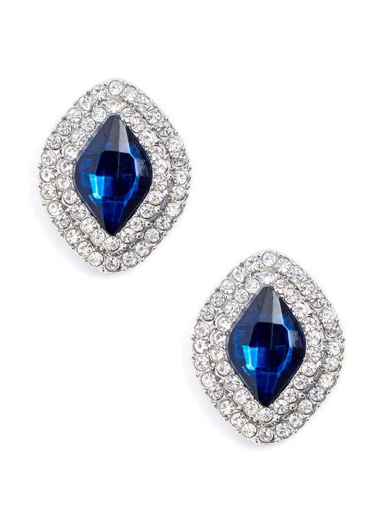 Stone & Crystal Stud Earrings, Blue, hi-res