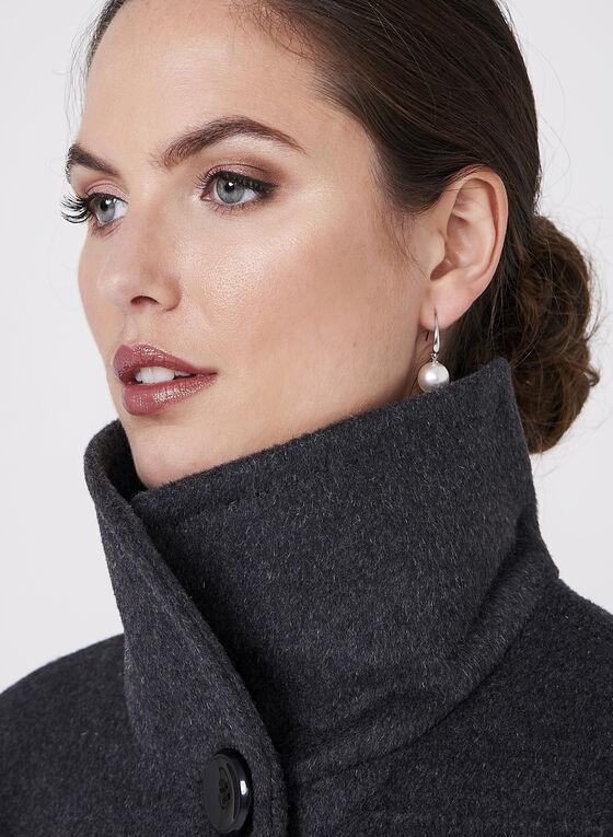 Ellen Tracy - Wool & Angora Blend Coat, Grey, hi-res