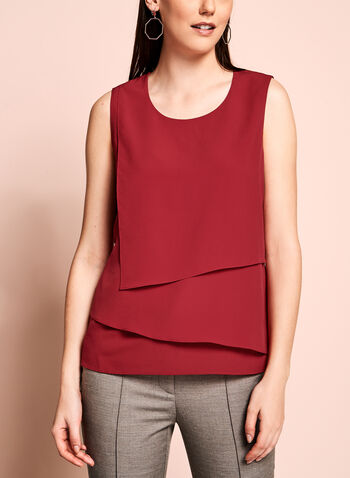 Sleeveless Cascade Front Blouse, , hi-res