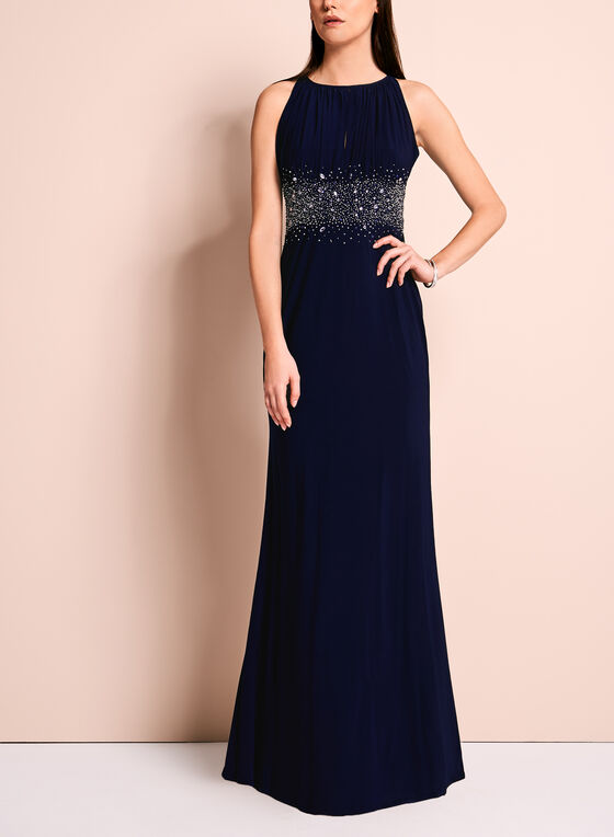 Beaded Waist Jersey Halter Neck Gown, Blue, hi-res