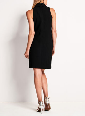 Collared Crepe Shift Dress, , hi-res