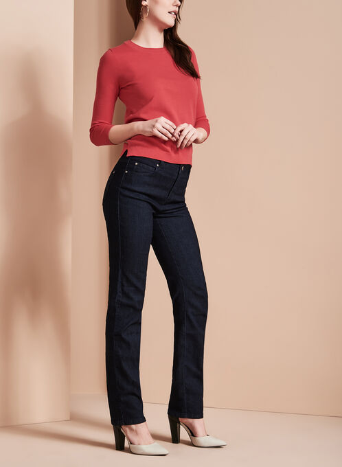 Simon Chang Embroidered Straight Leg Jeans, Blue, hi-res