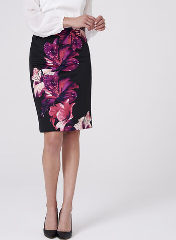 Floral Print Scuba Pencil Skirt , , hi-res