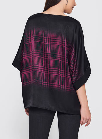 Floral Houndstooth Print Poncho Top, , hi-res