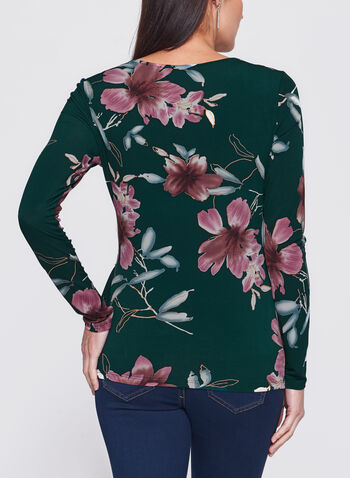 Floral Print Side Tuck Jersey Blouse, , hi-res