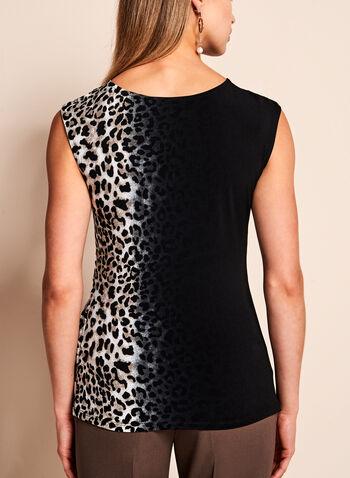 Haut drapé sans manches à motif léopard, , hi-res