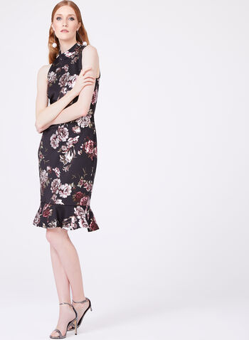 Jax - Metallic Floral Print Scuba Dress, , hi-res