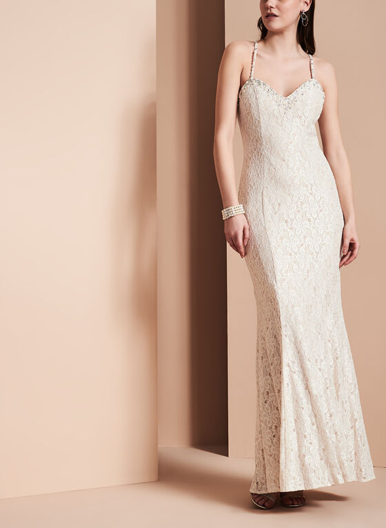 Sequin & Pearl Evening Gown, Off White, hi-res