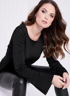 Bell Sleeve Stripe Detail Sweater, Black, hi-res