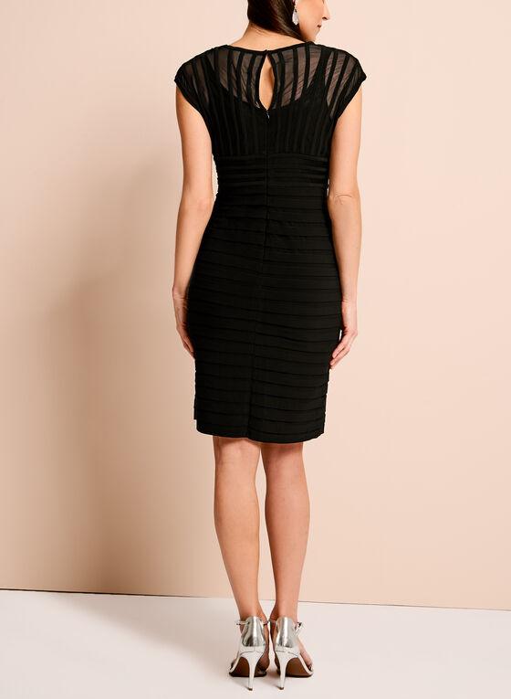 Adrianna Papell Jersey Mesh Shutter Dress, Black, hi-res