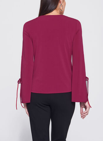 Bell Sleeve V-Neck Top, , hi-res