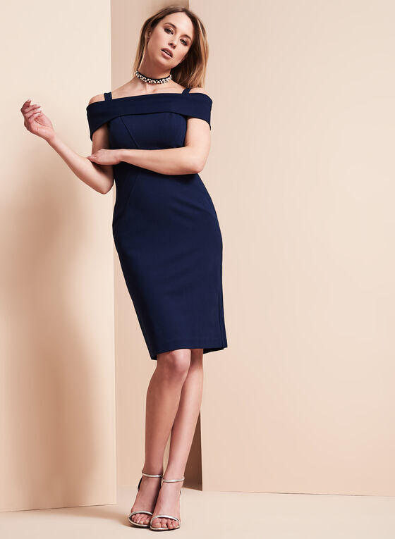 Vince Camuto Off Shoulder Dress, Blue, hi-res
