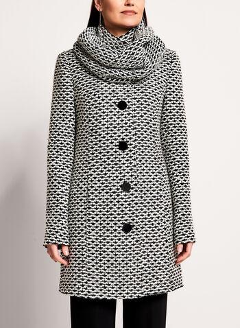 Tweed Stand Collar Coat, , hi-res