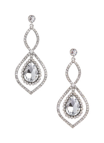Crystal Teardrop Earrings, , hi-res