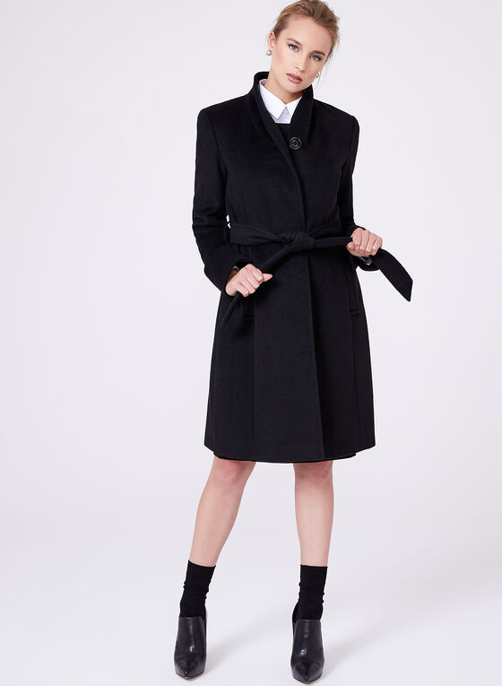 Ellen Tracy - Belted Wool Blend Wrap Coat, Black, hi-res