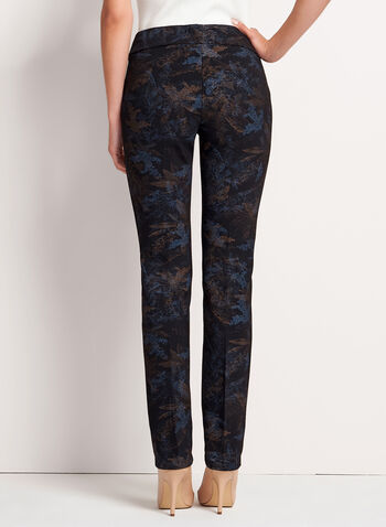 Pull-On Straight Leg Leaf Print Pants, , hi-res