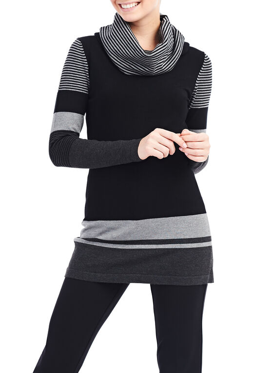 Striped Cowl Neck Sweater, Black, hi-res