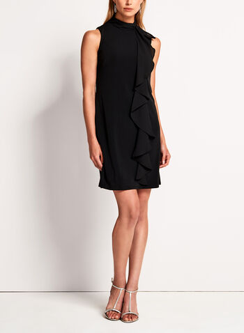 Maggy London - Mock Neck Ruffle Trim Trapeze Dress, , hi-res
