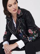 Frank Lyman - Studded Embroidered Faux Leather Jacket, Black, hi-res