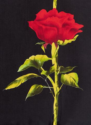 Rose Print Oblong Scarf, , hi-res