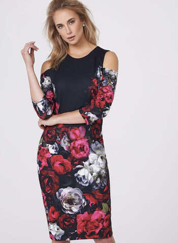 Floral Print Cold Shoulder Scuba Dress, , hi-res