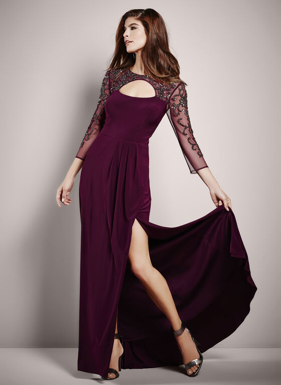 3/4 Sleeve Beaded Mesh Yoke Gown, Purple, hi-res