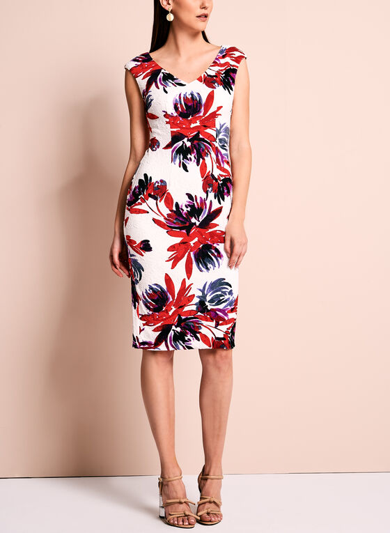 Maggy London Textured Floral Dress, Multi, hi-res