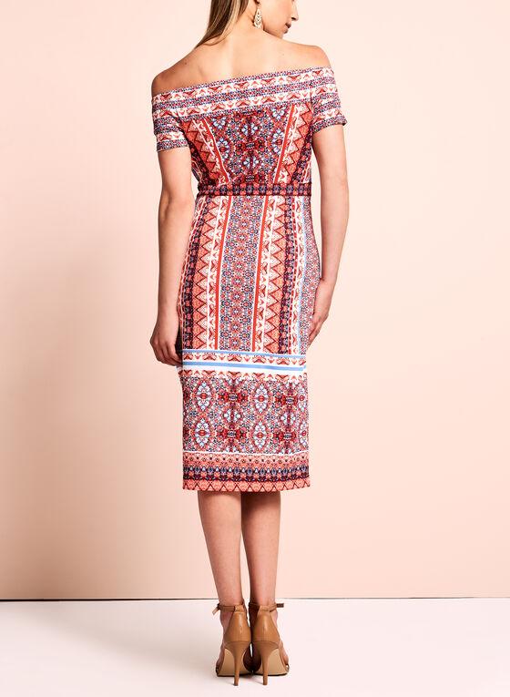 Maggy London - Printed Off The Shoulder Dress , Orange, hi-res
