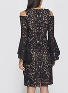 Cold Shoulder Bell Sleeve Lace Dress, Black, hi-res