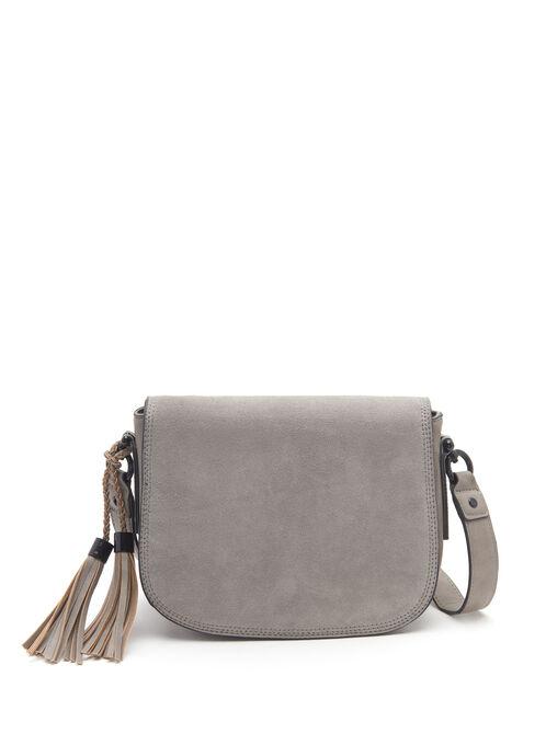 Suede Flap Saddle Bag, Grey, hi-res