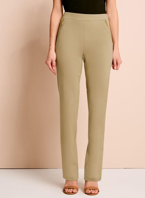 Slim Leg Ponte Zipper Trim Pants, Off White, hi-res