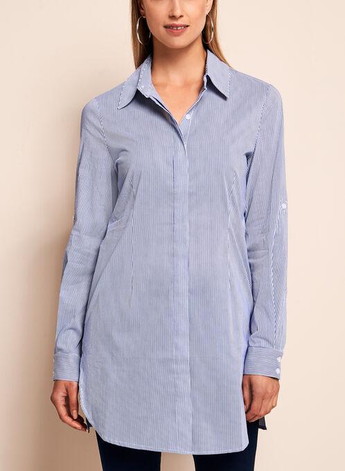 Pinstripe Print Tunic Blouse, Blue, hi-res