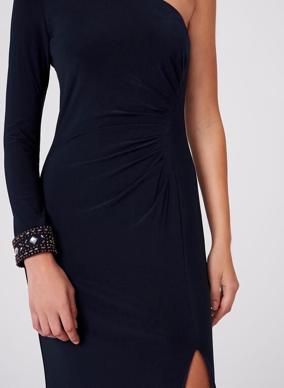 BA Nites - One Shoulder Beaded Choker Dress, Blue, hi-res