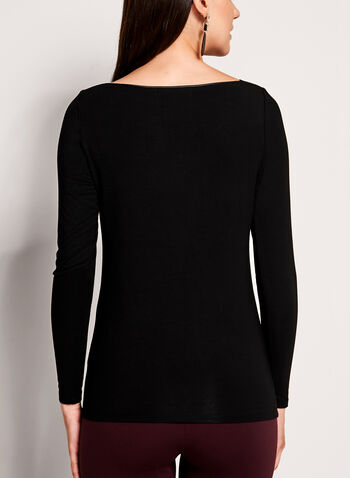 Long Sleeve Boat Neck Knit Top, , hi-res