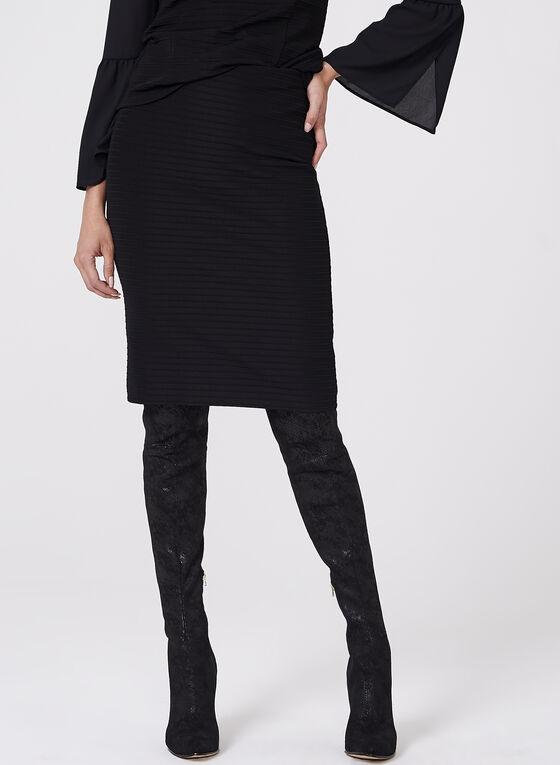 Ottoman Knit Pencil Skirt, Black, hi-res