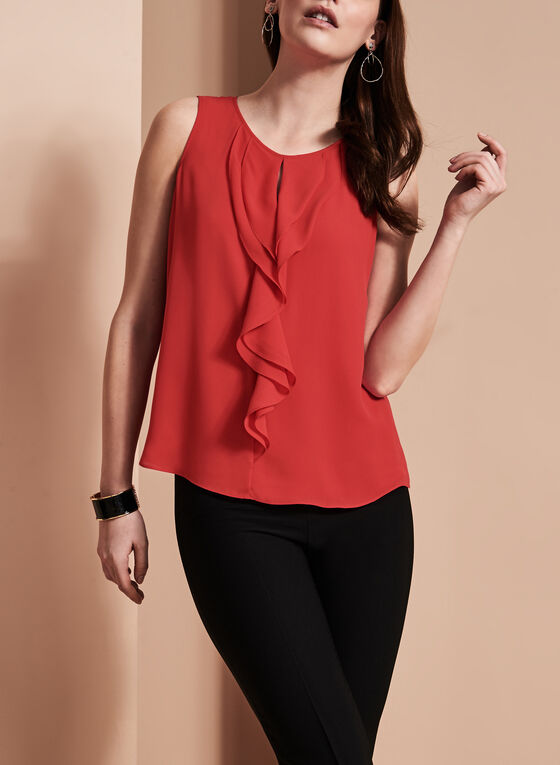 Sleeveless Ruffle Front Blouse , Red, hi-res