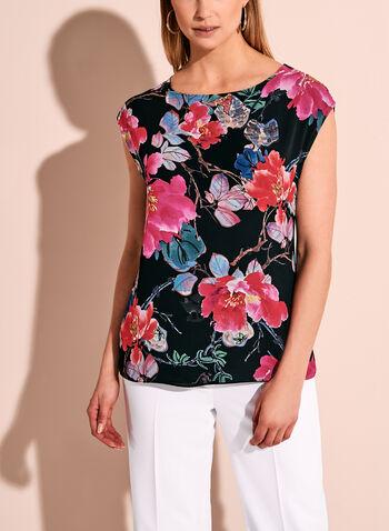 Floral Print Round Neck Top, , hi-res