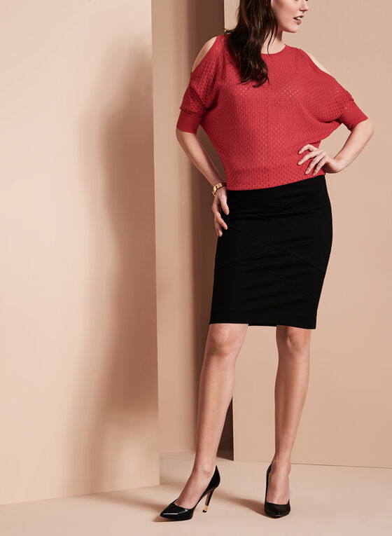 Pull-On Panelled Skirt, Black, hi-res