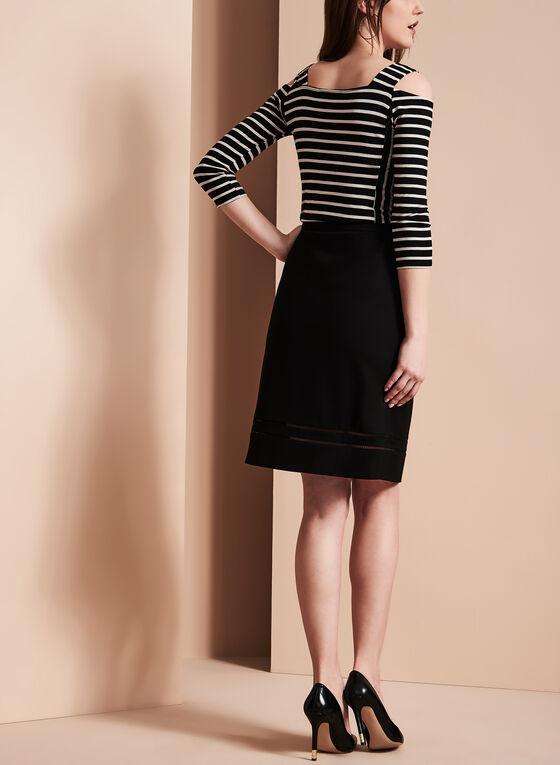 Embroidered Trim Pencil Skirt, Black, hi-res