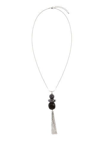Collier pendentif géométrique et pompon chaînons, , hi-res