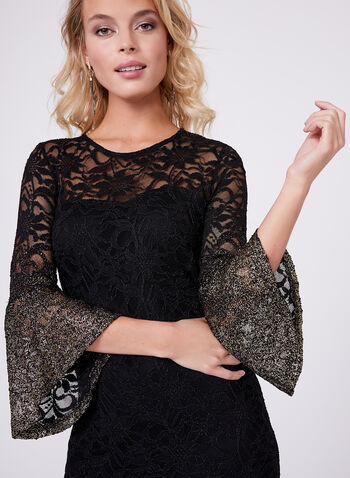 3/4 Sleeve Floral Lace Dress, , hi-res