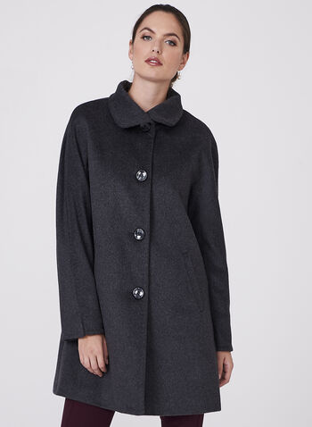 Ellen Tracy - Wool & Angora Blend Coat, Grey, hi-res