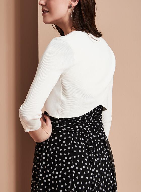 3/4 Sleeve Knit Bolero, Off White, hi-res